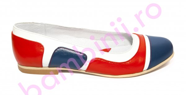 Pantofi balerini fete piele 026.3 corai blu alb 34-41
