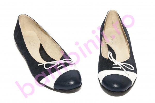 Pantofi balerini fete piele 026 siret blu alb 34-41