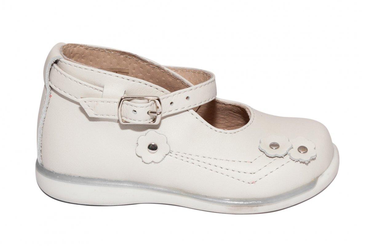 Pantofi balerini fete piele 185 alb unt 18-25