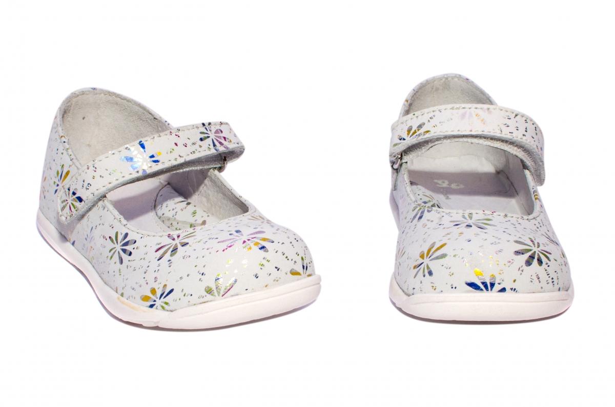 Pantofi balerini fete pj shoes Candy alb flori 20-26