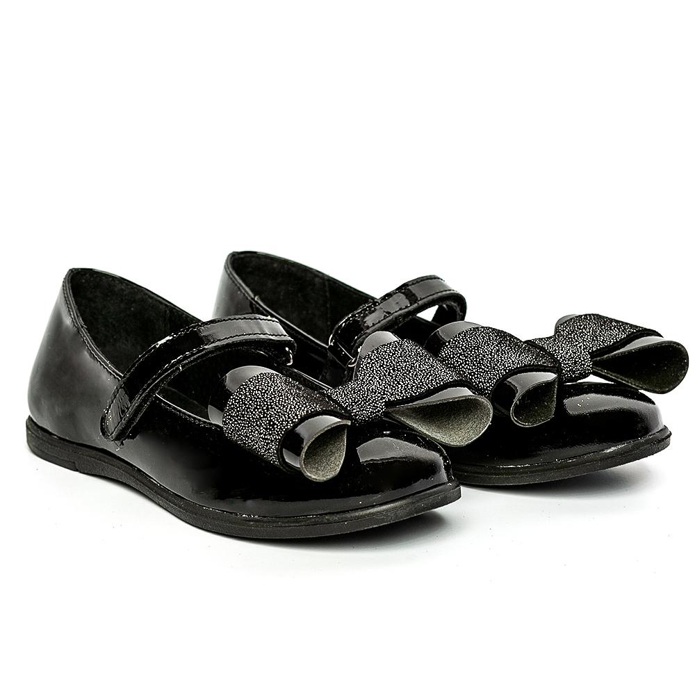 Pantofi balerini fete pj shoes Fantasy negru lac 27-36