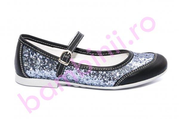 Pantofi balerini fete scoala hokide 383 negru gliter 26-35
