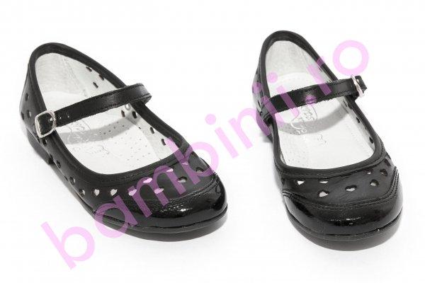 Pantofi balerini fete scoala hokide 383 negru perforat 26-35