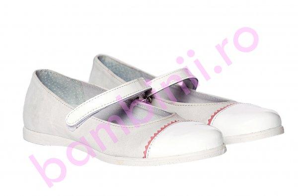 Pantofi balerini pj shoes Cherry alb roz 27-36