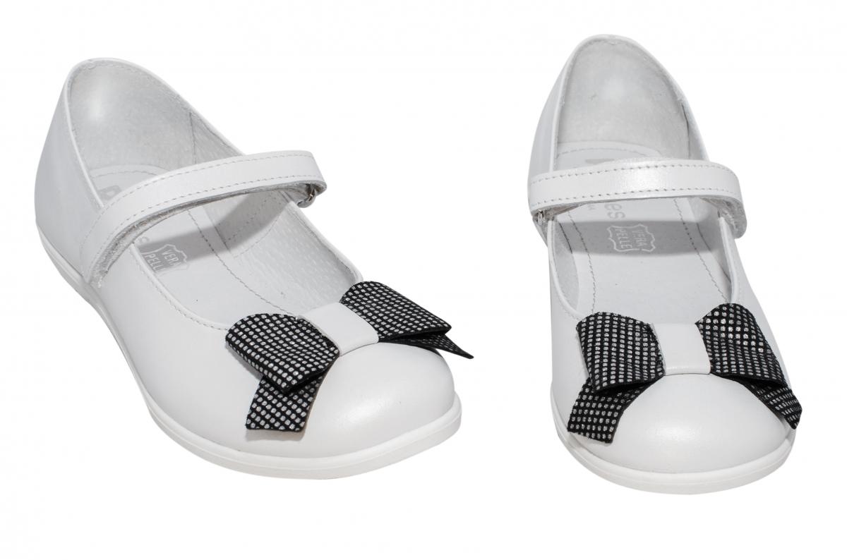 Pantofi balerini pj shoes Lia alb negru pipit 27-36