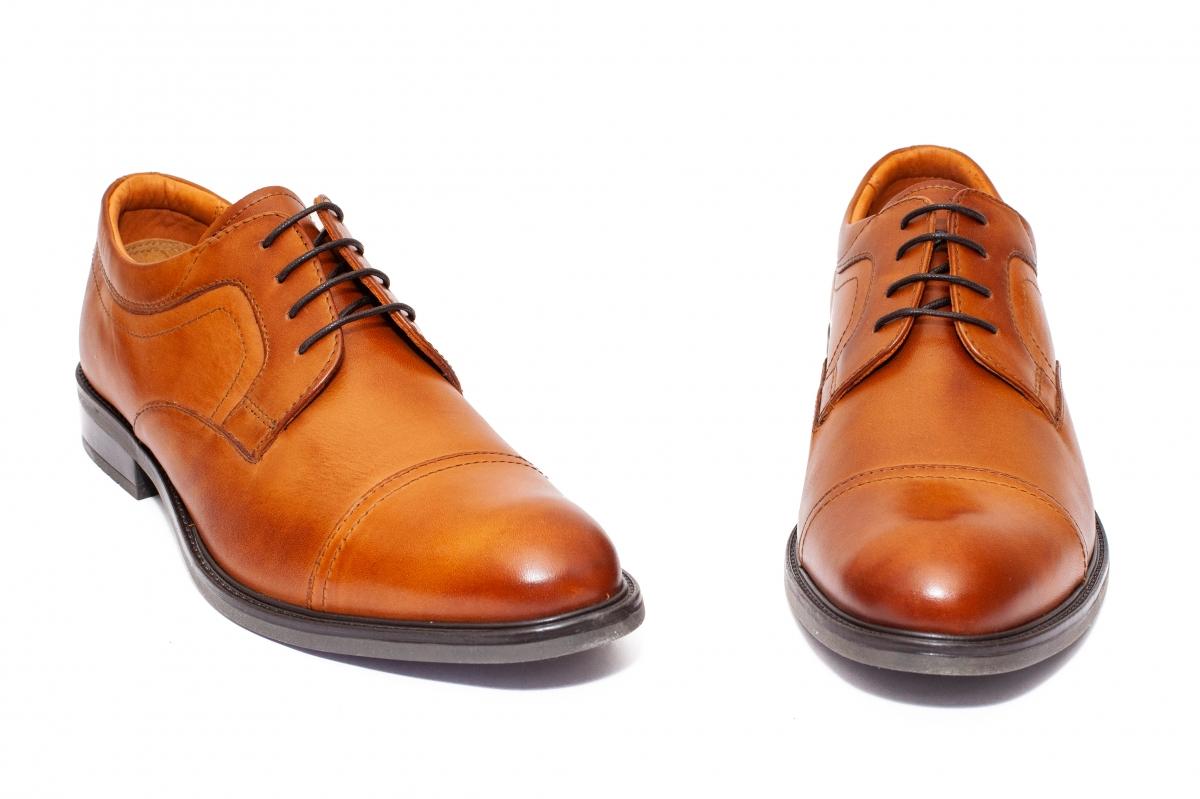 Pantofi barbati piele 45R03 maro coniac 40-46