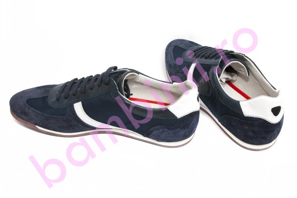 Pantofi barbati piele intoarsa 166 albastru alb 39-44