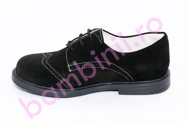 Pantofi copii din piele intoarsa 207 negru brodat 26-38