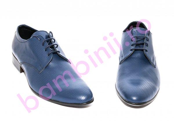 Pantofi copii eleganti piele naturala Alberto albastru 37-45