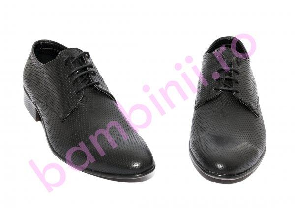 Pantofi copii eleganti piele naturala Alberto negru 37-45