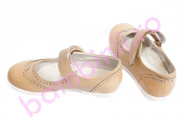 Pantofi balerini fete leofex 129 bej lac 24-37