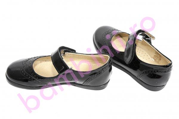 Pantofi balerini fete leofex 129 negru lac 24-37