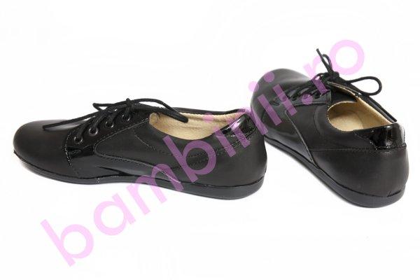 Pantofi fete piele 1348 negru lac 26-36
