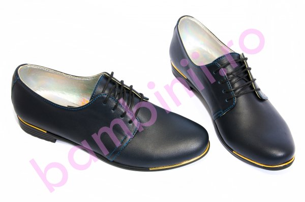 Pantofi copii piele 60 bleumarin box 34-41