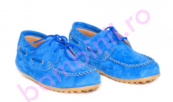 Pantofi copii piele intoarsa pj shoes Jose albastru 27-36