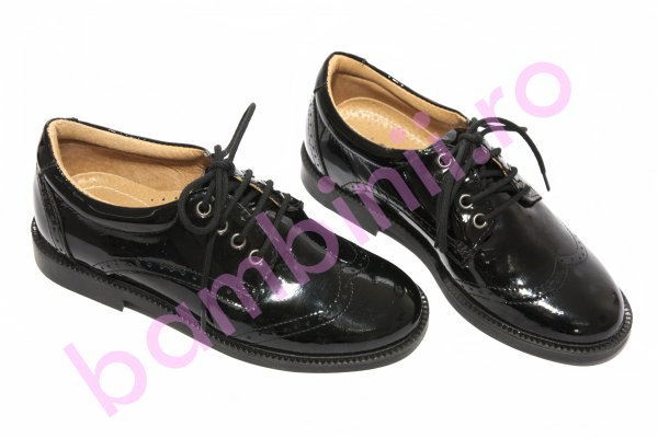 Pantofi copii piele elegant scoala 102 negru lac brodat 28-37