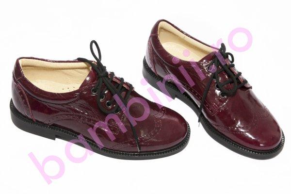 Pantofi copii piele elegant scoala 102 visiniu lac 28-37