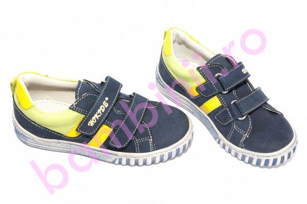 Pantofi copii piele hokide 316 albastru verde galben 26-30