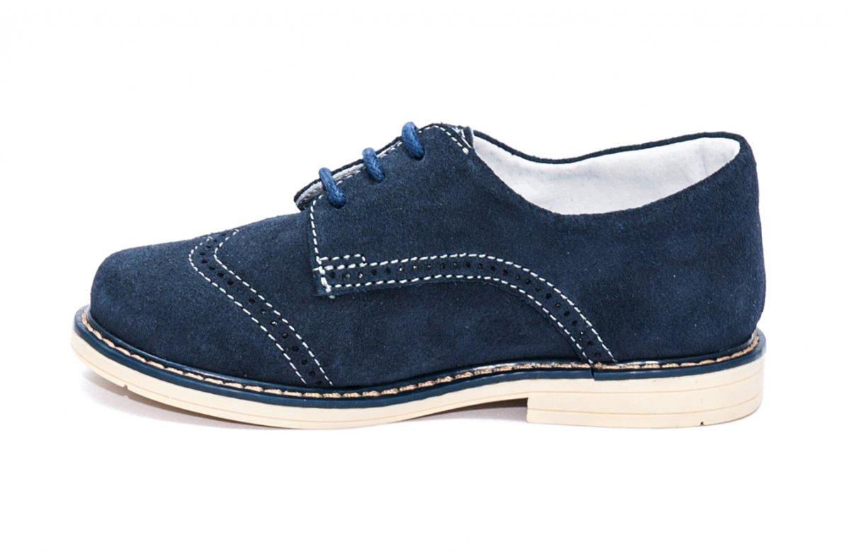 Pantofi copii piele intoarsa hokide 207 blu bej 26-37