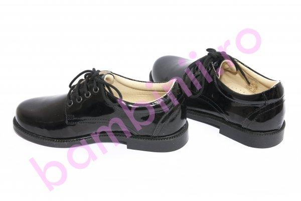 Pantofi copii piele leofex 101 negru lac