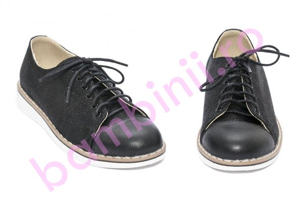 Pantofi copii piele naturala 1384 negru lux 26-36