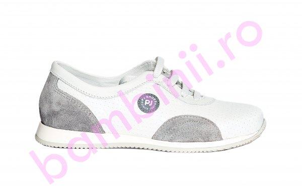 Pantofi copii pj shoes Oskar alb gri 31-38