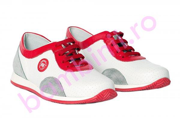 Pantofi copii pj shoes Oskar rosu alb 31-38