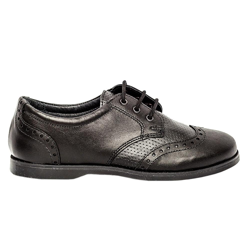 Pantofi copii scoala piele pj shoes Frigerio 01 negru siret 31-38