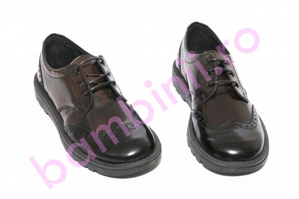 Pantofi copii scoala pj shoes Frigerio 03 negru maro 31-38