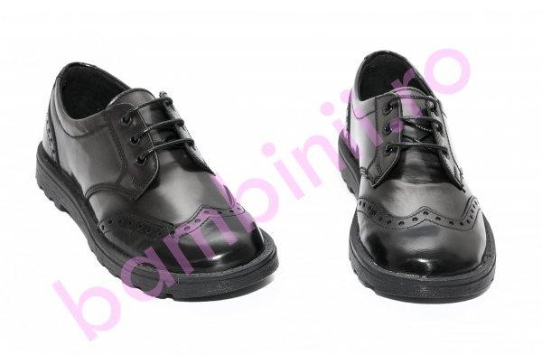 Pantofi copii scoala pj shoes Frigerio brush 03 negru gri 31-38