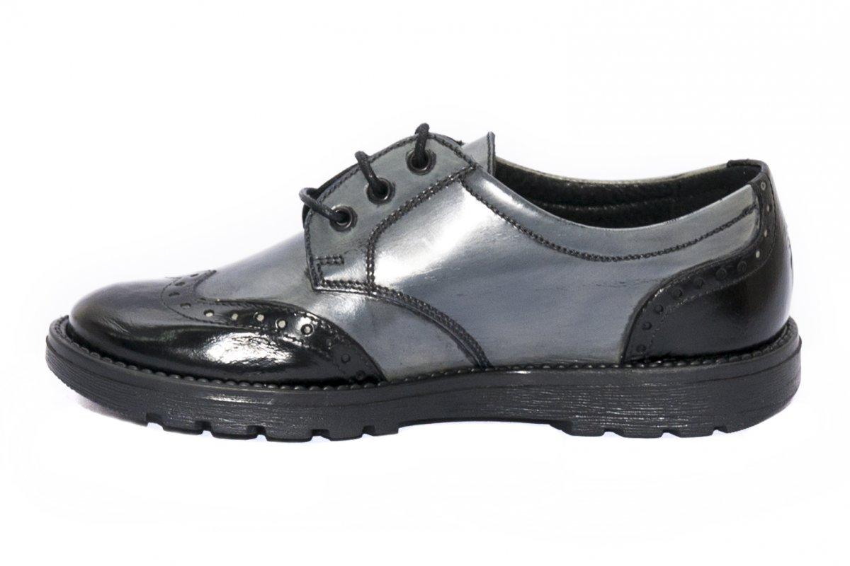 Pantofi copii scoala pj shoes Frigerio brush gri negru 31-38