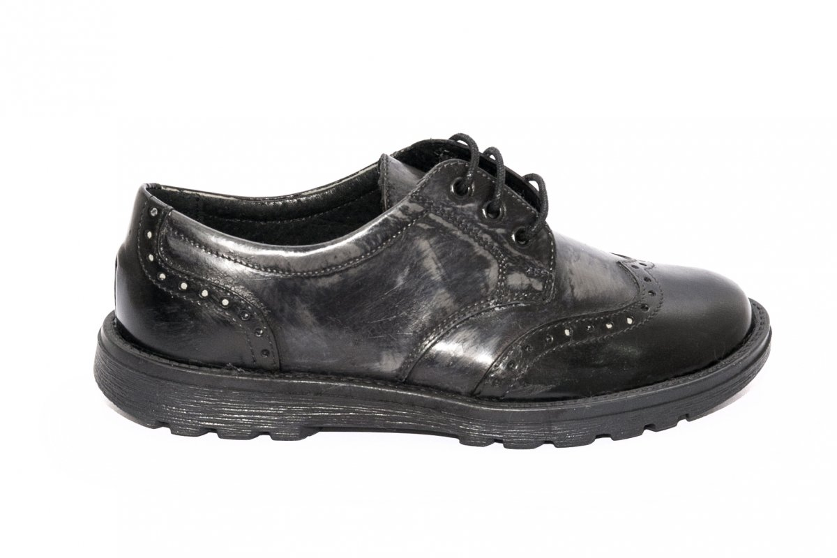 Pantofi copii scoala pj shoes Frigerio brush negru gri perie 31-38
