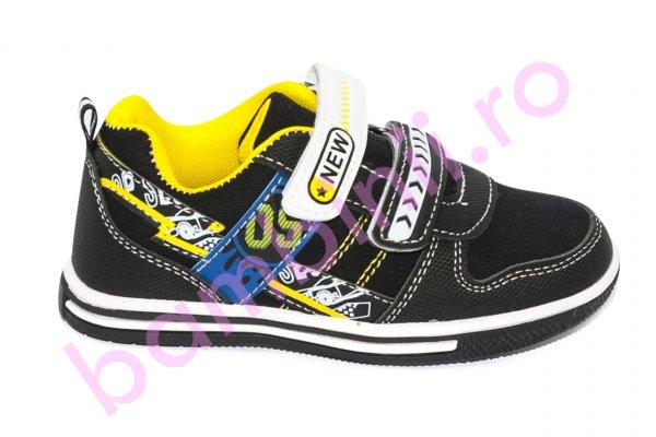 Pantofi copii sport 1026 negru galben 27-32
