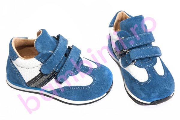 Pantofi copii sport piele avus 325 albastru alb 19-27