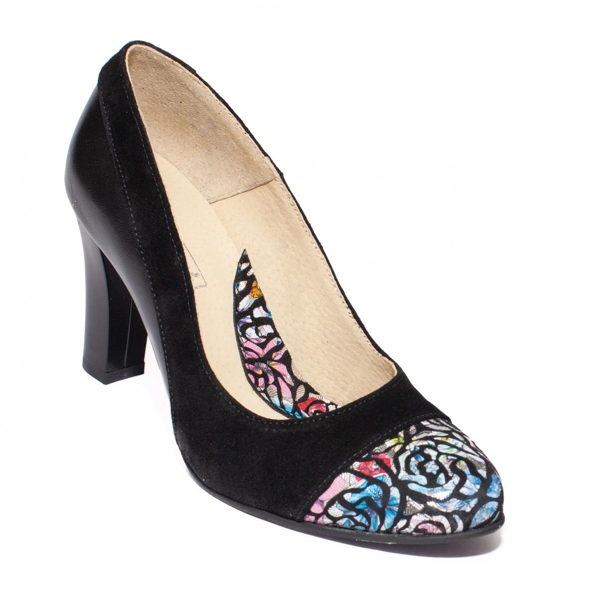 Pantofi cu toc dama 952 negru print 33-40