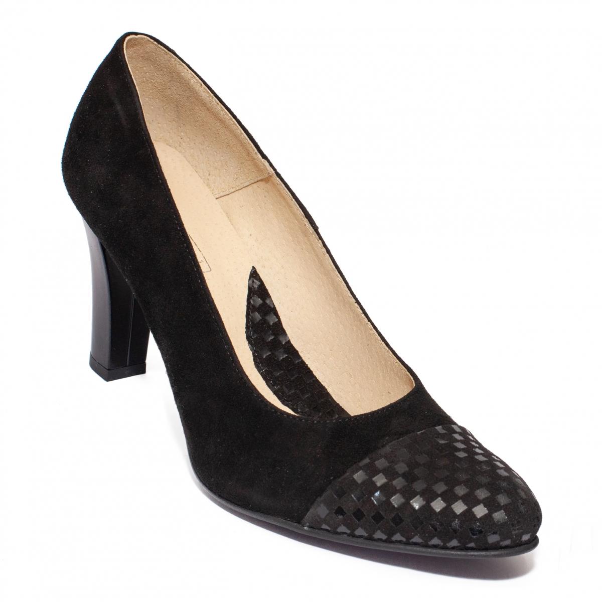 Pantofi cu toc dama 952 negru sah negru 33-40