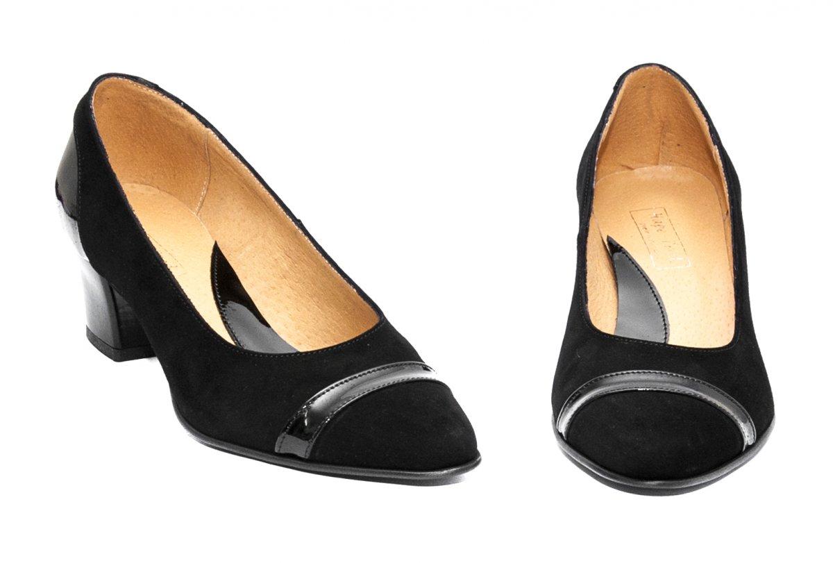 Pantofi cu toc dama piele intoarsa 908.02 negru lac 34-40