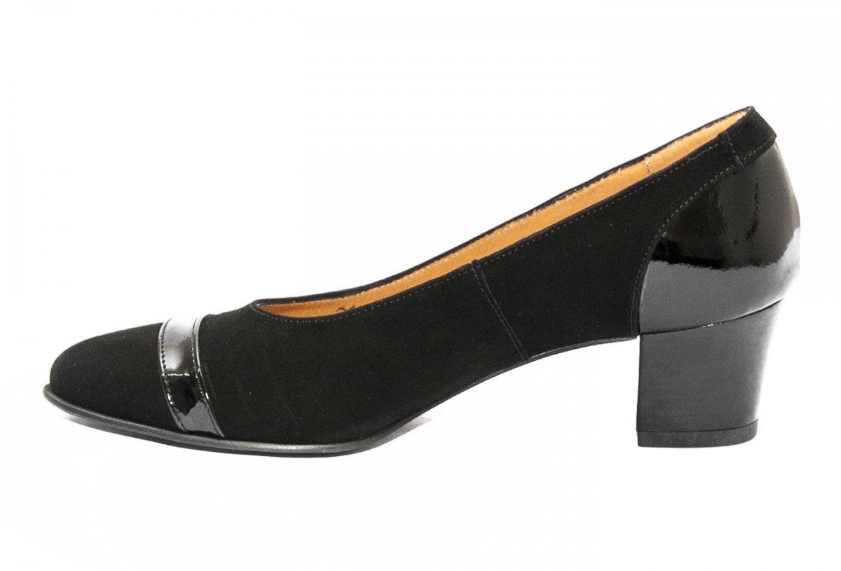 Pantofi cu toc dama piele intoarsa 908 negru lac 34-40