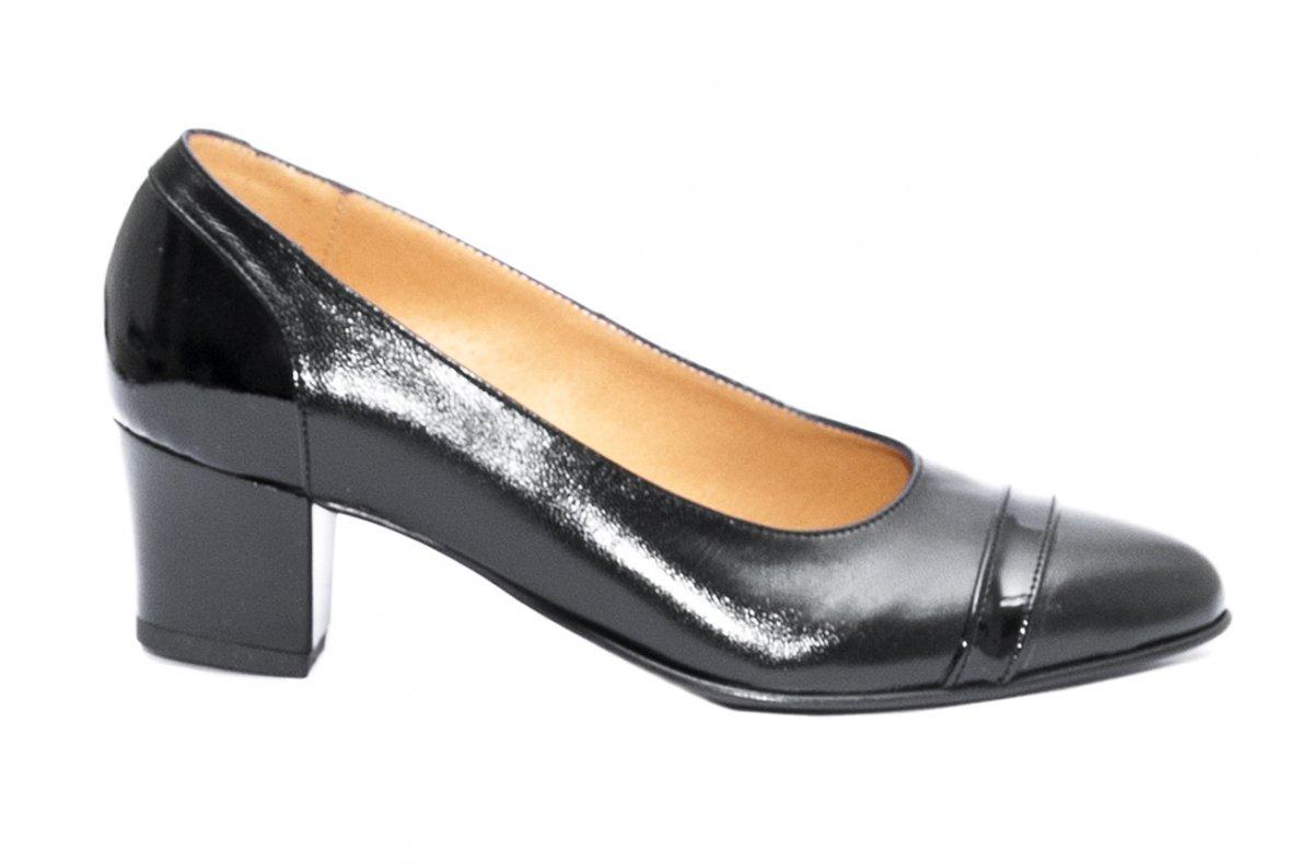 Pantofi cu toc dama piele naturala 908.02 negru box lac 34-40