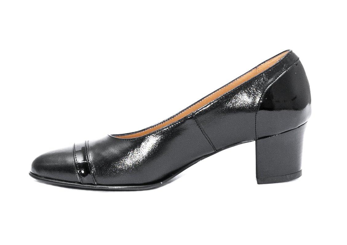 Pantofi cu toc dama piele naturala 908 negru box lac 34-40
