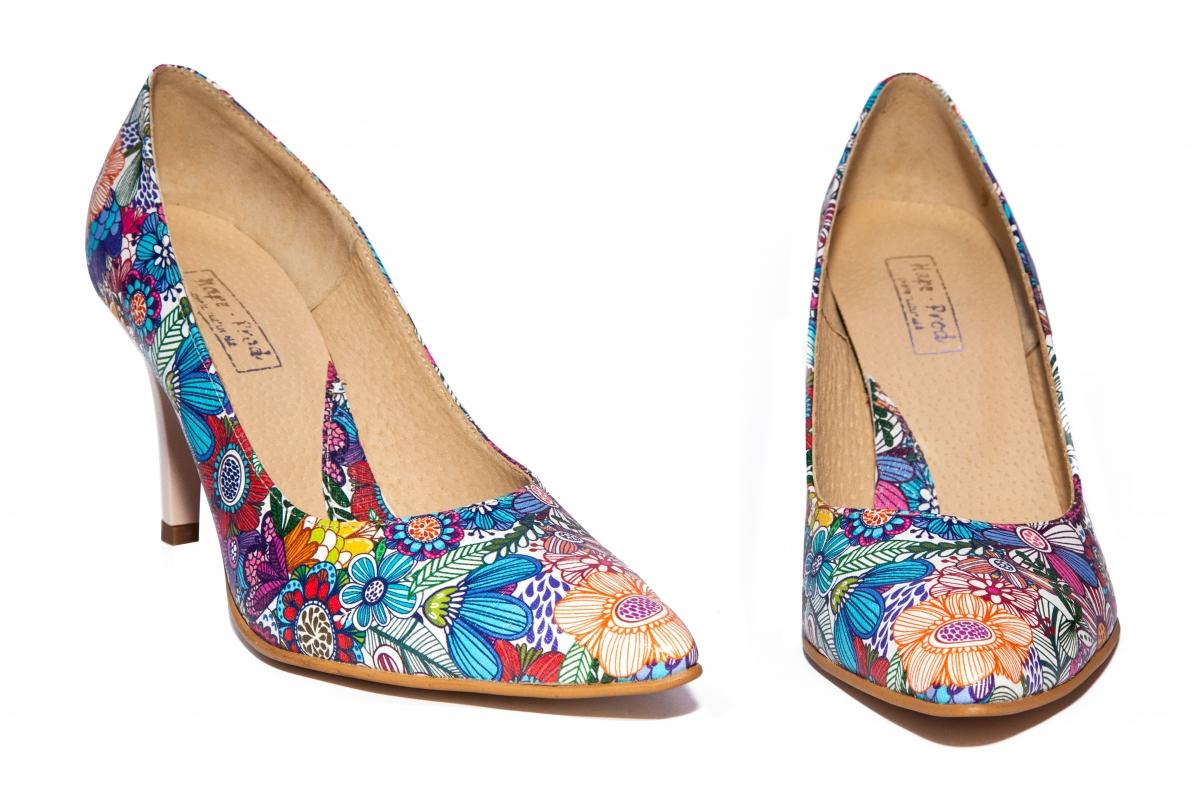 Pantofi cu toc dama stileto 004 flori 34-40