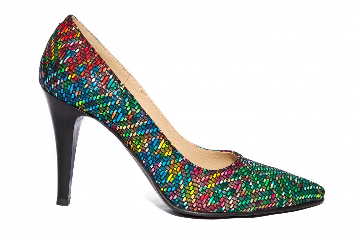 Pantofi cu toc dama stileto 004 verde color 34-40
