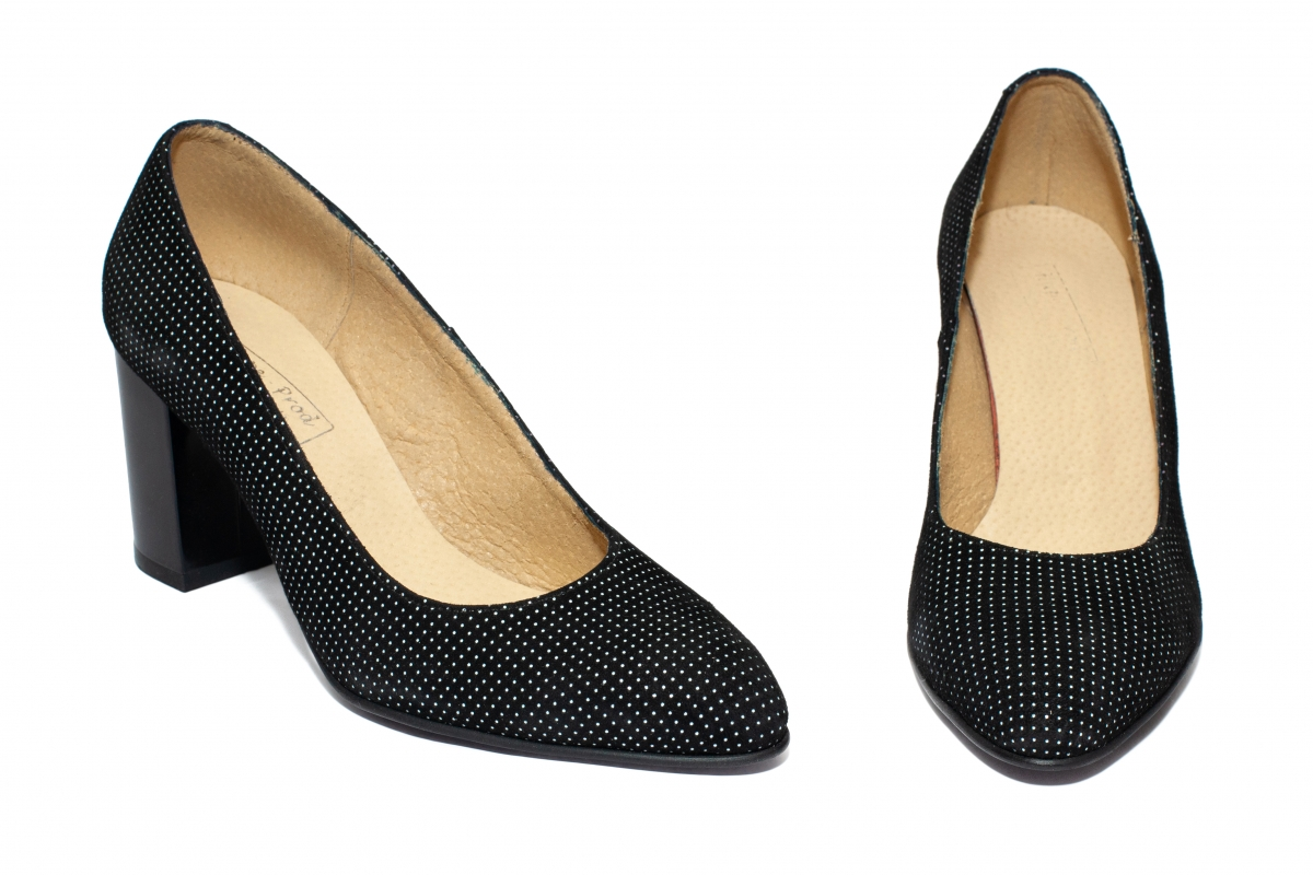 Pantofi cu toc mic 544 negru pipit 33-40