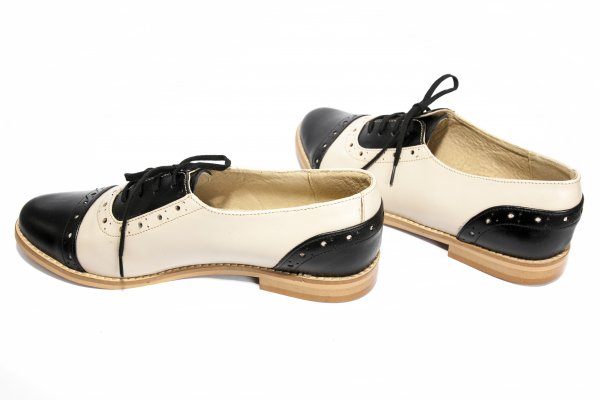 Pantofi dama piele 26s1 negru bej 34-41