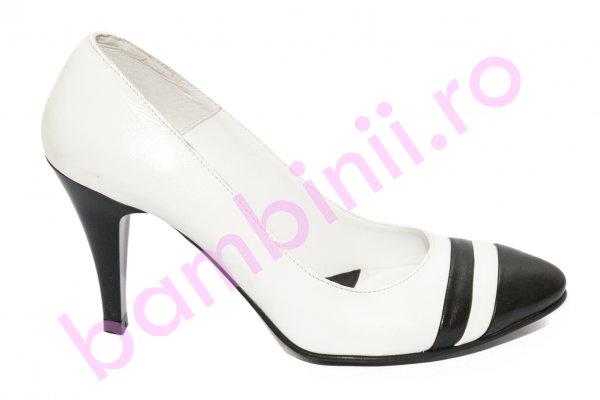Pantofi dama cu toc 040.2 alb negru