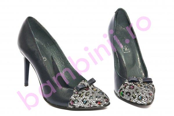 Pantofi dama cu toc 040.4 blu fundita 34-41