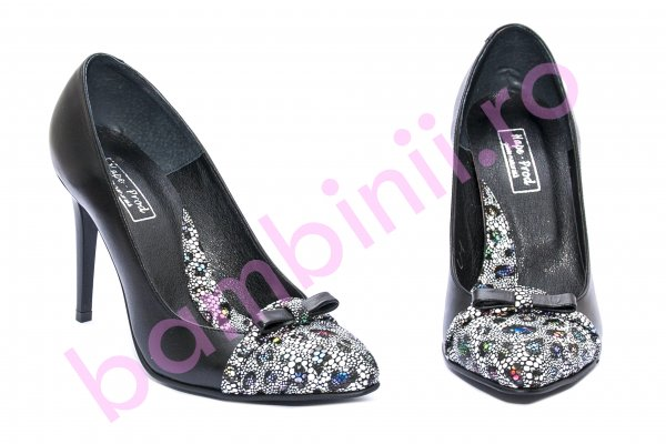 Pantofi dama cu toc 040.4 negru fundita 34-41