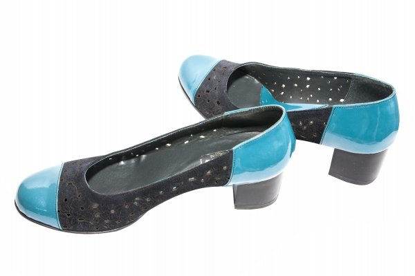 Pantofi dama cu toc 219 negru laser turcoaz 34-41