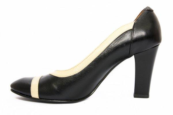 Pantofi dama cu toc 291.1 negru bej 34-41
