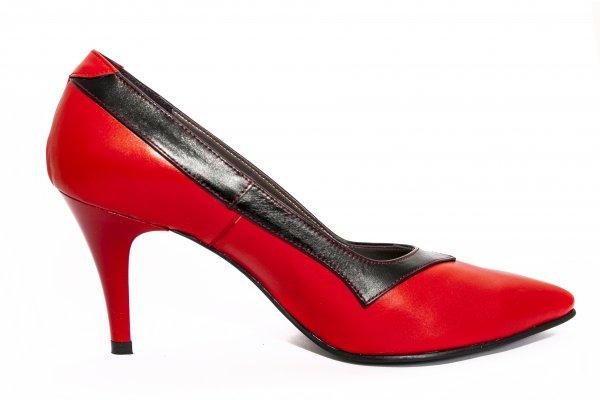 Pantofi dama cu toc 355.2 rosu negru 34-41